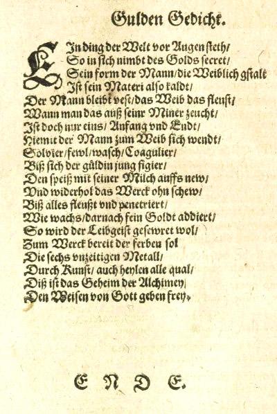 Gulden Gedicht aus dem Theatrum chemicum Band (1613)
